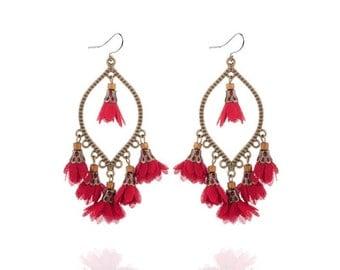 Deep red flower tassel earrings - surgical steel earrings, bronze long fringe earrings, stainless steel earwires nickel free jewelry