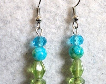 Turquoise and Green Tropical Dangle Earrings, Glass and Crystal Summer Earrings, Summer Cruise Jewelry, Wedding Earrings - Tropical Bliss