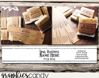 Large Natural Soap Bands - Printable - Digital File - DIY - Editable - INSTANT DOWNLOAD