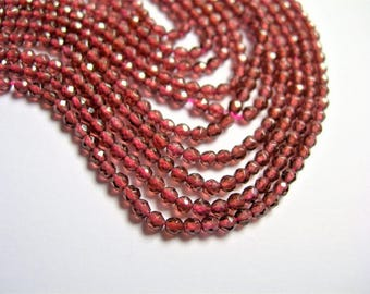 Red Garnet -  faceted 2mm round  - 180 beads-  full  strand - A quality - PG20