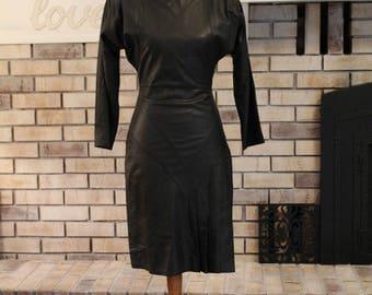 Awesome Vintage Little Black Dress, Genuine Leather Dress, Real Leather Dress