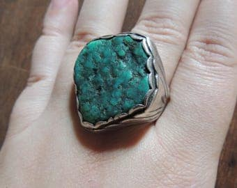 1960's Navajo Sterling and Raw Turquoise Mens Ring // TKW Tim Kee Whitman // Ring Size 13 // Southwestern Jewelry // Native American Jewelry