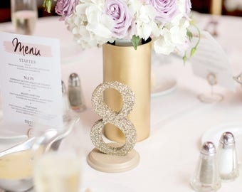 glitter table numbers gold or silver glittery table numbers for wedding reception vintage decor item