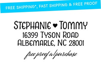 Return Address Stamp with a Handwriting Font and Heart.  Mounted with Handle or Self-inking Return Address Stamp (20388) 2 1/2 x 1