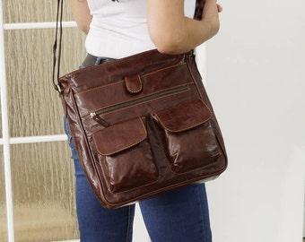 Leather Messenger Bag, Leather Messenger, Leather Cross-body Bag, Ipad bag, Leather Purse, Laptop Bag, 11in laptop - Iris Distressed Brown