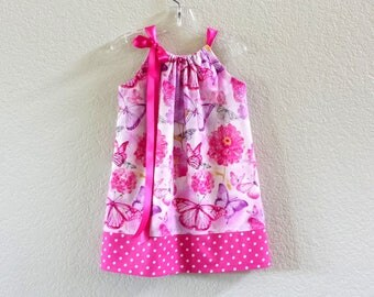 Girls Pink Pillowcase Dress - Pink and Purple with Butterflies & Polka Dots - Pink Sun Dress - Size 12m, 18m, 2T, 3T, 4T, 5, 6, 8, or 10
