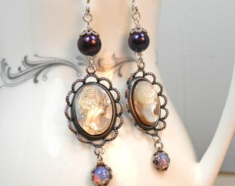 Handcarved Shell Cameos, Vintage Opal Glass, Dark Purple Pearl and Sterling Silver Earrings