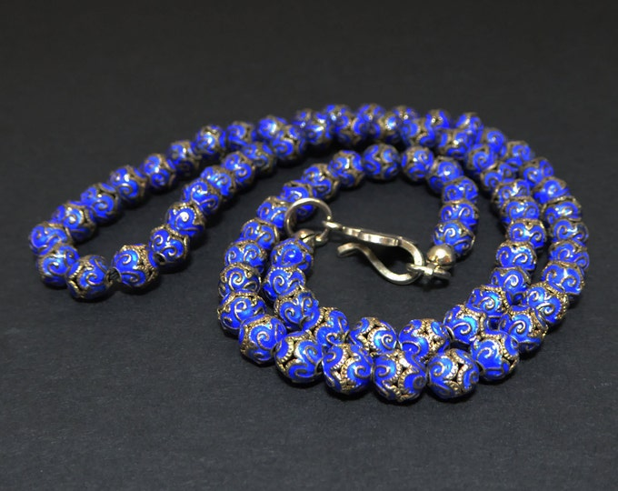 Chinese Enamel Blue Beaded Choker Necklace - Small 5mm 6mm Beads, Vintage 1920's 1930's Cloisonne Type Bead, Renewed Recycled