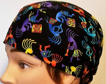 Handmade Kokopelli Skull Cap, Chemo Cap, Surgical Cap, Hats, Hair Loss, Head Wrap, Helmet Liner, Alopecia, Do Rag, Southwest, Motorcycle