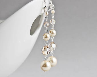 Long Champagne and Cream Crystal Pearl Dangle Earrings with Silver Plated Hooks