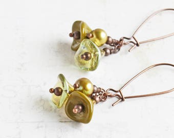 Green Cluster Earrings, Olive Green Earrings on Antiqued Copper Plated Hooks, Flower Dangle Earrings, Green Bead Earrings, Floral Jewelry