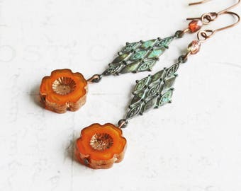 Burnt Orange Earrings, Green Patina and Orange Flower Earrings on Copper Plated Hooks, Long Dangle Earrings, Fall Jewelry