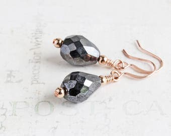 Shimmer Black Teardrop Dangle Earrings on Rose Gold Plated Hooks