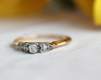 Vintage 3 stone diamond ring, engagement ring, heart ring, vintage details,