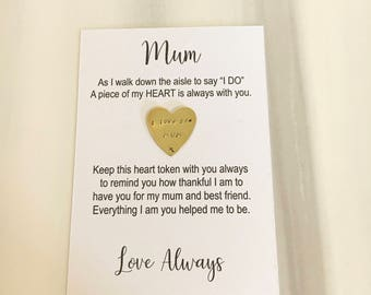 Mother of the bride gift, of all the walks gift, mum pocket token, daughter to mum gift, gifts for mum, wedding favours, father of the bride