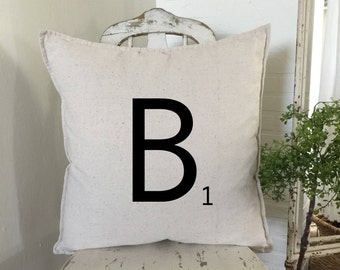 Scrabble Tile Burlap Pillow | Scrabble Tile | Personalized Pillow