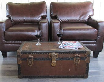 Antique Travel Trunk, Steamer Trunk, Coffee Table Trunk with Hand Painted Lettering & Wonderful Patina