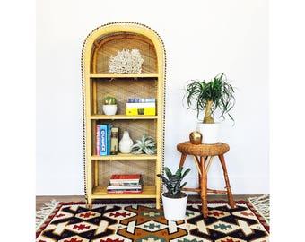 Vintage Arched Rattan Shelf