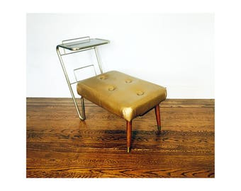Vintage Gold Telephone Bench / Ottoman