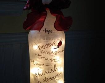Inspiration Lamp,wine bottle lamp,lighted wine bottles,sister gift,friend gift,lighted glass bottles,family,wine bottle lights
