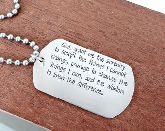 Serenity Prayer Dog Tag Necklace.  Stainless Steel Men's Jewelry.  Christian Necklace, Sobriety Jewelry, Recovery Jewelry.