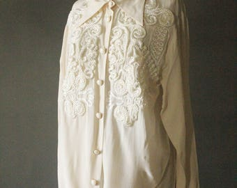 Vintage 80's/90's Cream Silk and Ornate Abstract Rope Collared Long Sleeve Blouse by Ivana, size 8