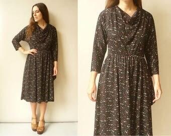 1970's Vintage Black Retro Printed Midi Tea Dress Size S/M
