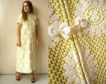 1970's Vintage Yellow Toweling Dress With Lace Crochet Overlay Maxi Kaftan Housedress Size S/M