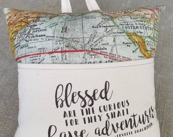 Reading Pillow- Blessed are the Curious, Map- Book Pillow, Travel Pillow