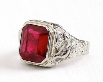 Sale - Antique Art Deco 10k White Gold Created Ruby Bird Ring - Size 9 Vintage 1920s Red July Birthstone Statement Fine La France Jewelry