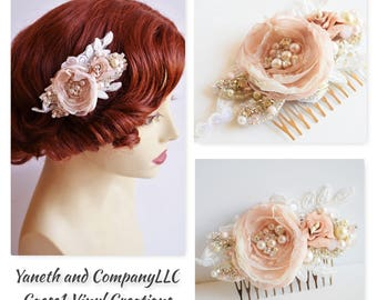 Blush and Ivory Bridal Hair Flower with Pearls and Rhinestones comb,Bridal Blush and Ivory Flower Hair Comb,Blush and Ivory Heirloom comb
