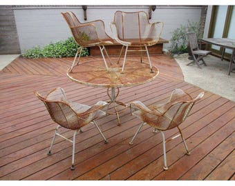 Vintage Russell Woodard Sculptura Dining Set 4 Arm Chairs Round  Table Wire Mesh