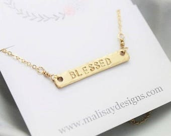blessed horizontal gold bar necklace