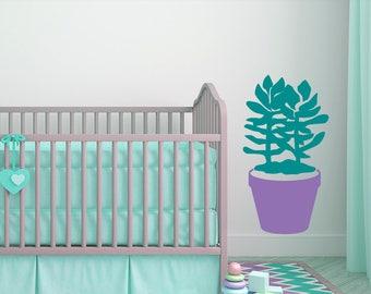 Nursery Decor Succulent Plant Decal: Style C Giant Succulent Wall Decal, Nursery Wall Decal (0177d)