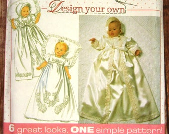 Vintage 1990s Easy to Sew Infants Christening Gown, Coat and Bonnet Sizes NB S M L Simplicity Pattern 7488 UNCUT