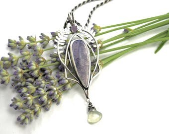 Lavender Plant Necklace in Sterling Silver - Tiffany Stone Pendant - Grape Agate - Prehnite - Botanical Jewelry - Art Nouveau Necklace