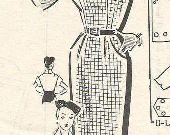 1950s Sundress and Collared Bolero Sheath Dress Front Button Bodice Sew Rite 8918 FF Size 20 Bust 38 Womens Vintage Sewing Pattern