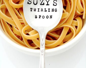 Personalized Pasta Twirling Spoon. Custom Mac and Cheese Hand Stamped Spoon. Gumbo Spoon. Soup Spoon. Tablespoon. Noodle Spoon with Name