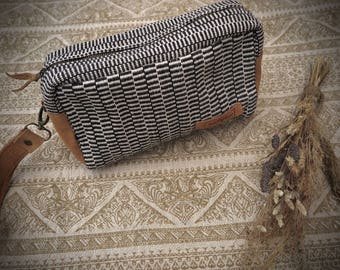 unique Unisex gift READY TO SHIP  Handwoven cotton Cosmetic Electronic Accessory storage  Travel  bag  Fair Trade Leather cotton