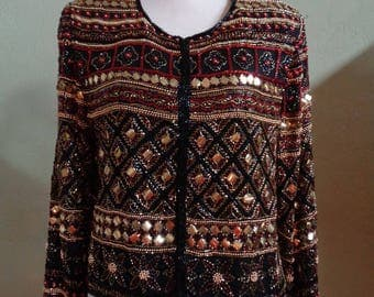 """Vintage Stenay Evening Jacket Embellished with Bugle, Gold Round Beads Plus Square Sequins Bust 39"""" Waist 39"""""""