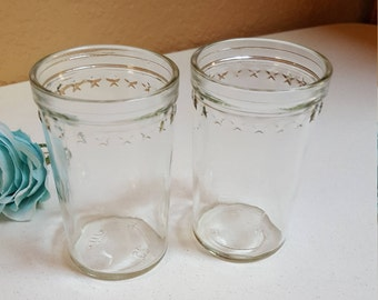 2 Jelly Jars With Stars - Small Clear Glass - Oak Hill Vintage