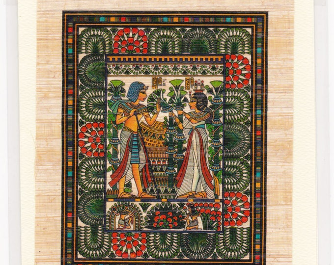 King Tut and His Wife Egyptian Papyrus Note Card. Suitable for framing!