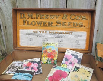 Vintage D M Ferry & Co. Wood Flower Seed Box 7 Seed Packages Advertising