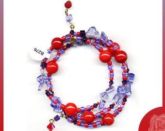 Wrap/Bangle Red Vintage Beads Red Purple Seed Beads, Siam Red Swarovski Crystal Bicones Purple Velvet Swarovski Squares Crystals Glass Chips