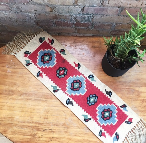 Vintage Moroccan Runner Rug Flower And Birds Rug Woven Rug
