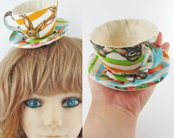 Ready to Ship! Textile Teacup Fascinator (Hair Clip for Children and Adults) -Rabbit Stripe *Alice in Wonderland's Mad Hatter Tea Party!*