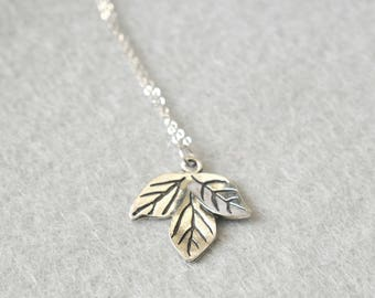 Silver Leaf Plant Necklace with Sterling Silver Chain / Greenery, Botanical Jewellery, Long Necklace / Plant Lady, Plant Lover Gift, For Her
