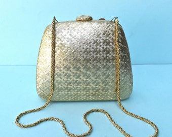 Vintage Gold Metal Purse with Shoulder Chain/Gold Metal Hard Case Clutch/Saks Fifth Avenue/Made in italy