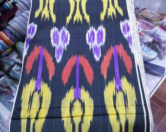 Uzbek traditional cotton woven ikat fabric by meter Tulips. Tribal, ethnic, boho fabric