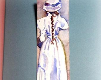 Handpainted original watercolor bookmark.